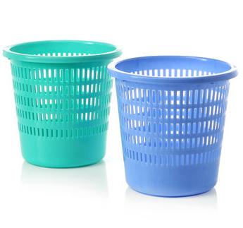 汇丰信佳 圆筒形 家用细网格 塑料纸箩卫生桶垃圾桶 家居清洁用品 蓝色